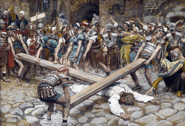 Simon the Cyrenian Compelled to Carry the Wooden Stake/Cross with Jesus, James Tissot