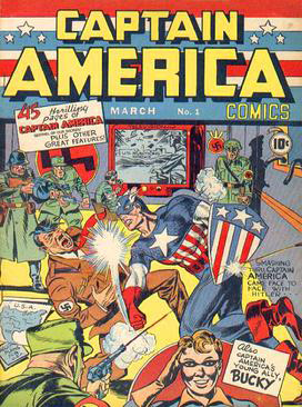 <b>Cover of Captain America Comics #1 (Mar. 1941)</b> shows the superhero punching Adolph Hitler. It sold 1 million copies.