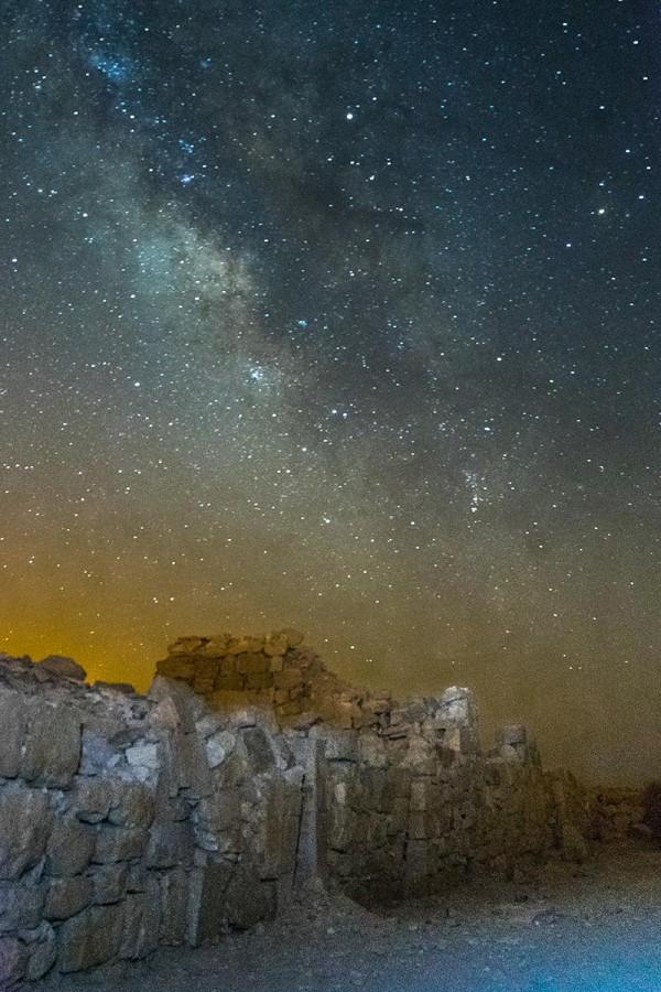 Milky Way over ruins in Israel