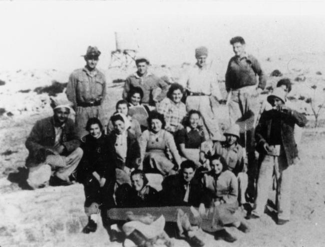 Hannah Szenes (4th from left) with members of Kibbutz Sdot Yam.