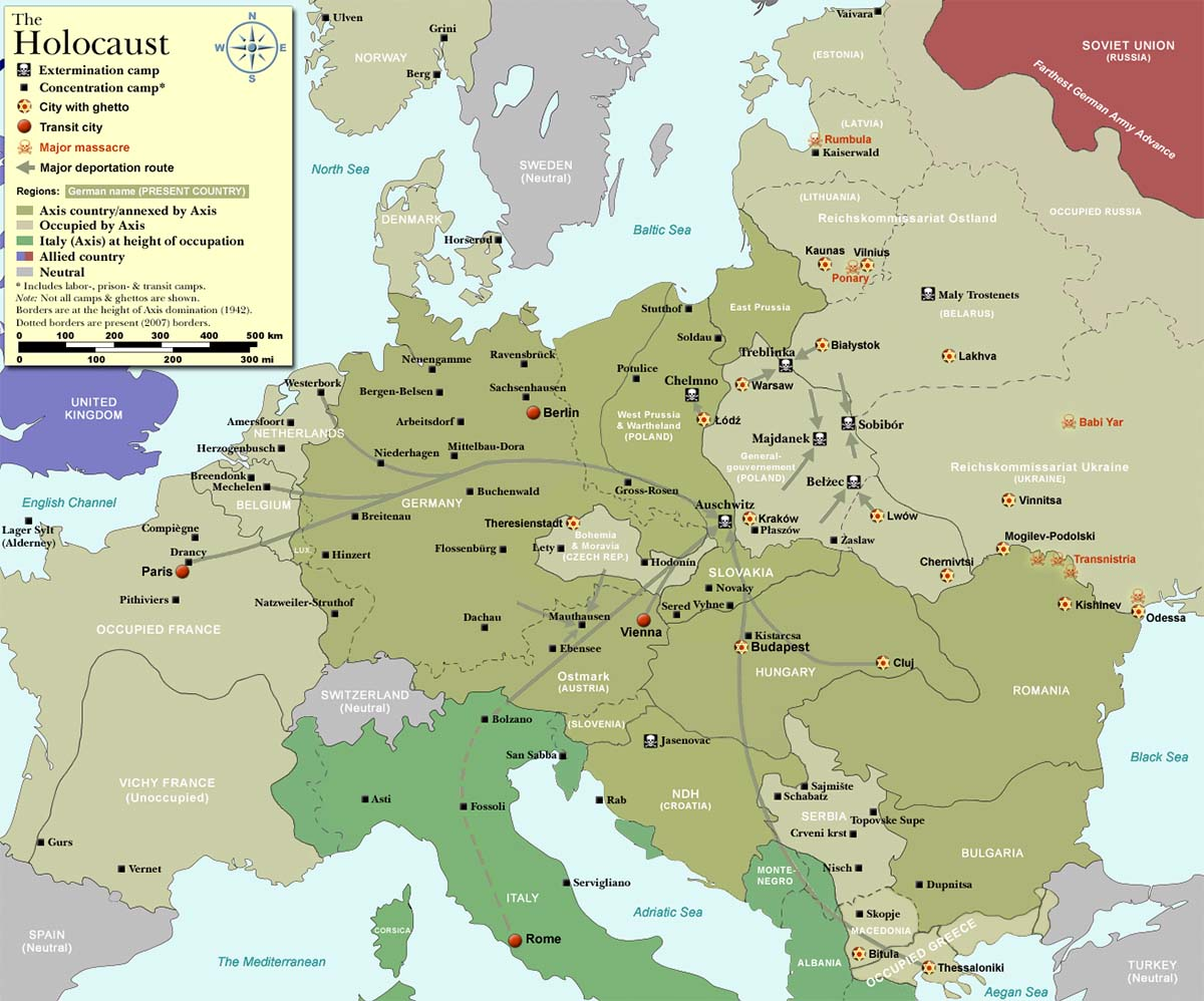 Map of major extermination and concentration camps throughout Europe during the Holocaust.