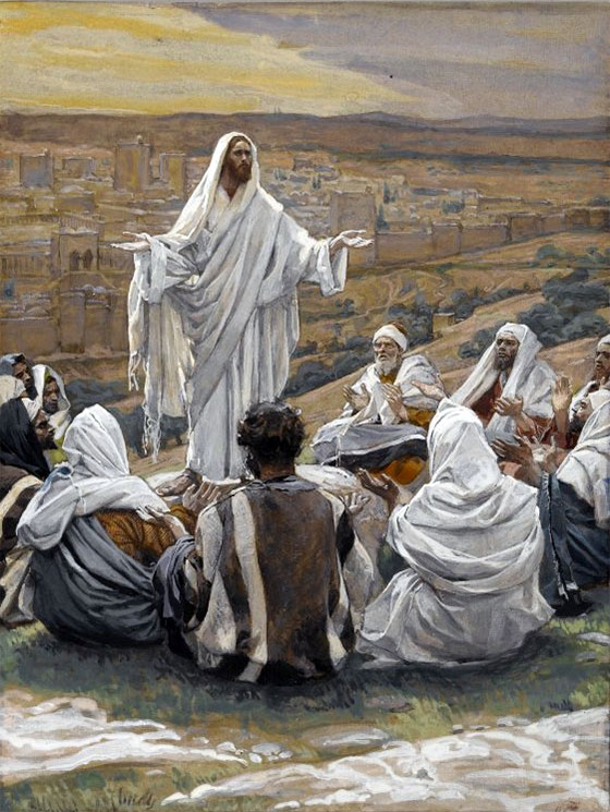 The Lord's Prayer, by James Tissot (1836-1902), depicting Yeshua (Jesus) teaching the disciples how to pray (Luke 11:1-13)