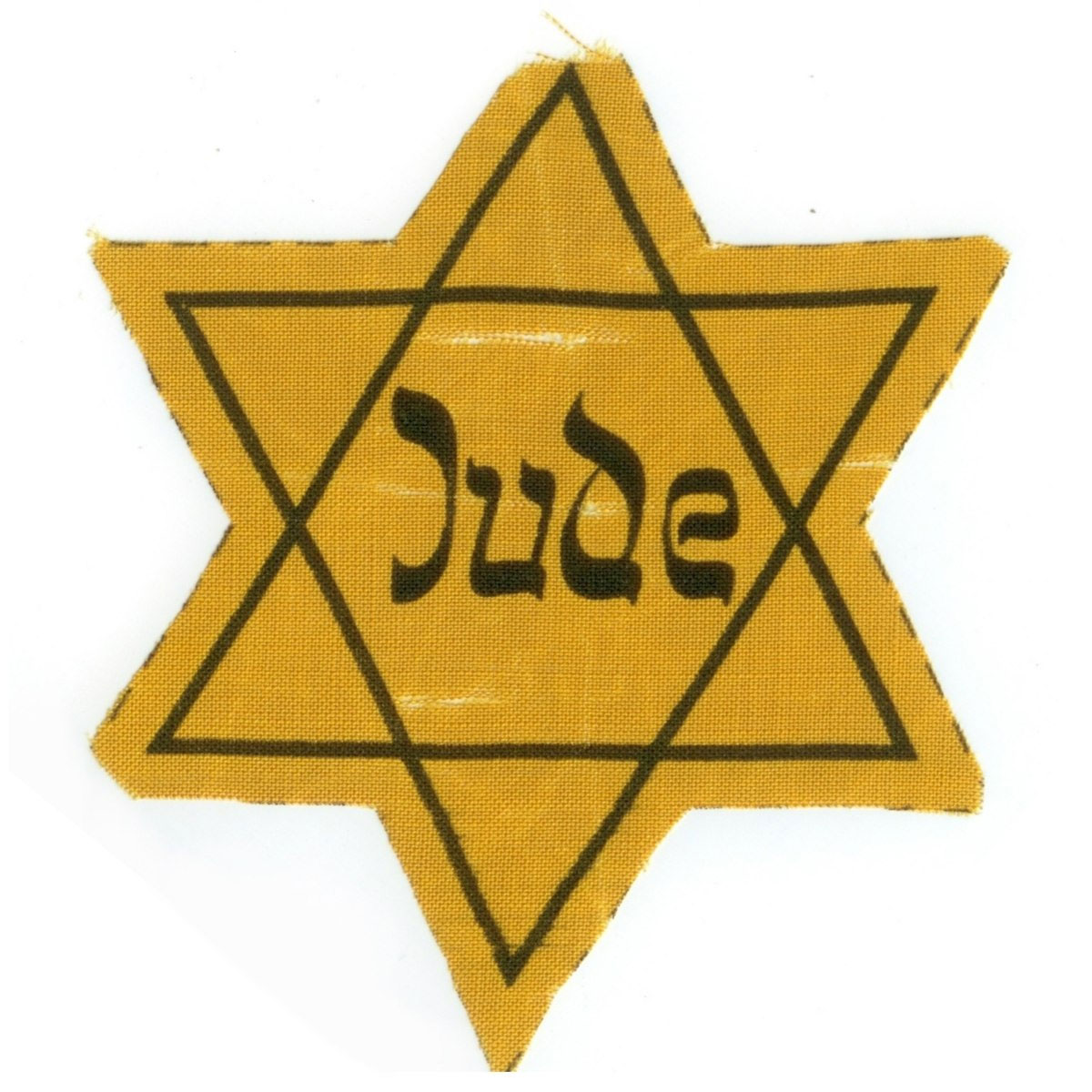 This Star of David printed on yellow fabric with the German word Jude (Jew) was found in Bielsko, Silesia, Poland, which was incorporated into the German Third Reich during World War II.