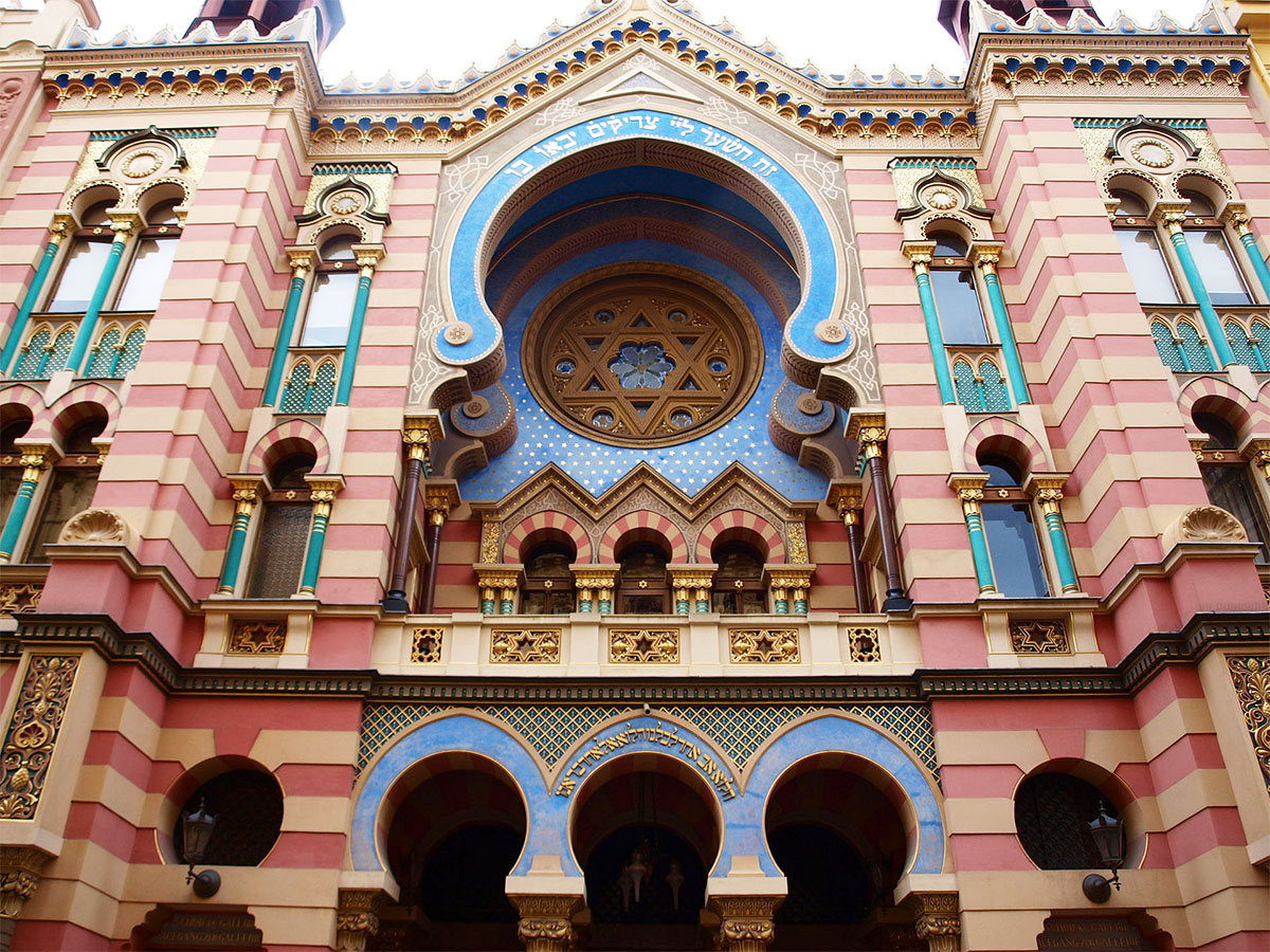 This Star of David adorns the exterior of the Jerusalem Synagogue on Jerusalem Street in Prague, Czech Republic.  It was built in 1906 in a striking Moorish Revival and art nouveau style and was originally named the Jubilee Synagogue, in honor of the silver Jubilee of Emperor Franz Joseph I of Austria.