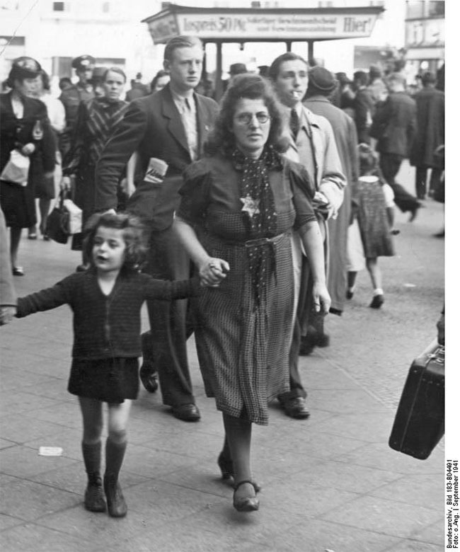 The effects of the Nuremberg Racial Laws of 1935 in Fascist Germany and in their occupied territories were dramatically enforced when a police decree published on September 12, 1941 obliged all Jews to wear the