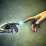 robot hand touches human hand