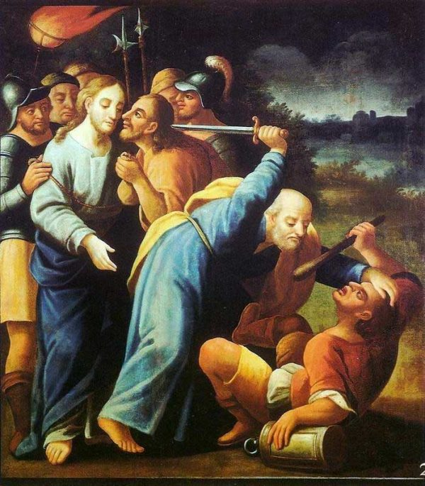 Peter cuts ear off Malchus
