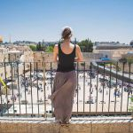 Woman overlooking Western Wall Plaza in Jerusalem