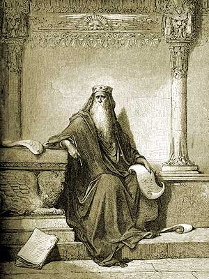 King Solomon Writing Proverbs by Gustav Dore