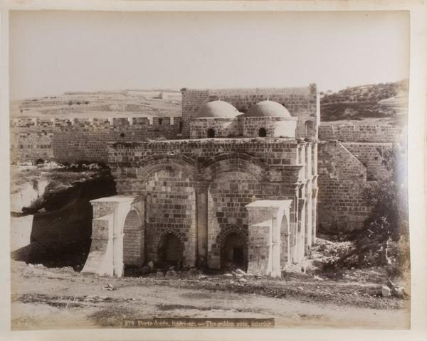 A view of an enclosed structure in front of the Gate of Mercy inside the Temple Mount (1876).